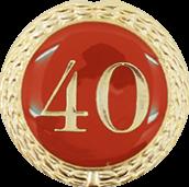 Auflage mit Zahl 40 rot