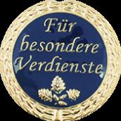 """Auflage mit Schriftzug """"Für besondere Verdienste"""" blau"""