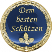 Auflage mit Schriftzug Dem besten Schützen blau
