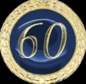 Auflage mit Zahl 60 blau