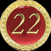 Auflage mit Schriftzug 22 Jahre rot