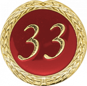 Auflage mit Schriftzug 33 Jahre rot