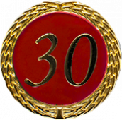 Auflage mit Zahl 30 rot