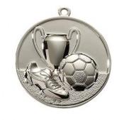 Fußballmedaille Ø 50 mm inkl. Wunschemblem und Kordel silber
