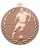 """Fußballmedaille """"Spieler"""" Ø 50 mm inkl. Wunschemblem und Kordel bronze"""