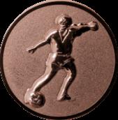 Emblem 25mm Fußballspieler m. Ball, 3D bronze