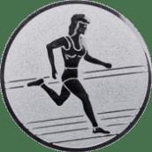 Emblem 25mm Laeuferin, silber