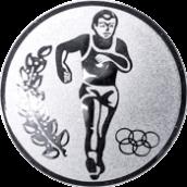 Emblem 25mm Laeufer Olympia, silber OK