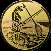 Emblem 50mm Angler m. Angel u. Kescher, gold