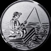Emblem 25mm Angler im Boot, silber