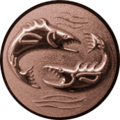 Emblem 25mm 2 Fische 3D, bronze