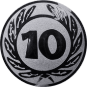 Emblem 50 mm Ehrenkranz mit 10, silber