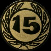 Emblem 50 mm Ehrenkranz mit 15, gold