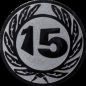 Emblem 50 mm Ehrenkranz mit 15, silber