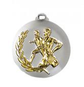 """Medaille """"Laufen"""" Ø 50mm silber mit Band Gold"""