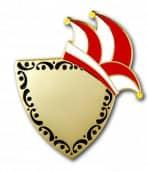 Karnevalspin mit Gravurfläche rot/weiß