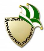 Karnevalspin mit Gravurfläche grün/weiß