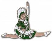 Tanzmariechen Spagat Pin grün-weiß