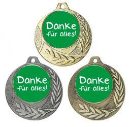 """Danke Medaille """"Arezzo"""" Ø 40mm mit Doming-Aufkleber und Band"""