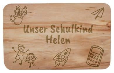 """Frühstücksbrettchen """"Unser Schulkind"""" mit individueller Namensgravur"""