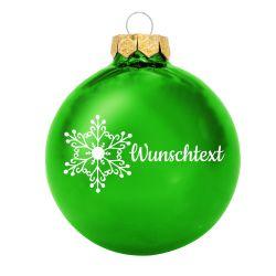 Weihnachtsbaumkugel aus Glas (glänzend) inklusive Wunschtextgravur & Schneeflocke