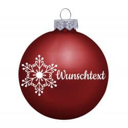 Weihnachtsbaumkugel aus Glas (matt) inklusive Wunschtextgravur & Schneeflocke