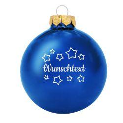 Weihnachtsbaumkugel aus Glas (glänzend) inklusive Wunschtextgravur & Sternen