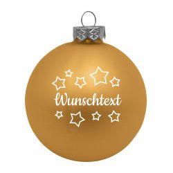Weihnachtsbaumkugel aus Glas (matt) inklusive Wunschtextgravur & Sternen
