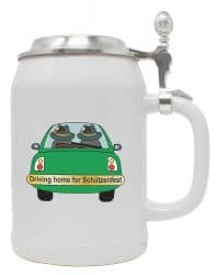 """Bierkrug 0,5 l """"Driving Home"""" mit Zinndeckel"""