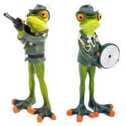 Set Deko Figur Schützenfrosch mit Gewehr & Zielscheibe