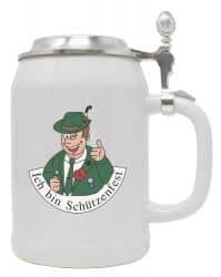 """Bierkrug 0,5 l """"Ich bin Schützenfest""""-Mann mit Zinndeckel"""