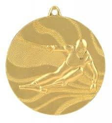 "Medaille ""Ski"" Ø 50mm mit Band Gold"