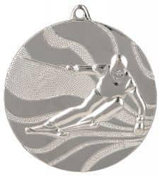 """Medaille """"Ski"""" Ø 50mm mit Band Silber"""