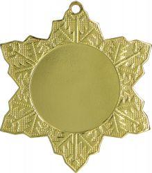 """Medaille """"Schneeflocke"""" Ø 50mm mit Band Gold"""