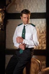 Schützenhemd - Pilotenhemd weiß Langarm mit Stickemblem Slim Fit
