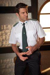 Schützenhemd - Pilotenhemd weiß Kurzarm mit Stickemblem Slim Fit