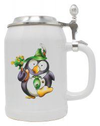 """Bierkrug 0,5 l """"Pinguin Tabsy"""" mit Zinndeckel"""