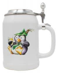 """Bierkrug 0,5 l """"Pinguin Eddy"""" mit Zinndeckel"""