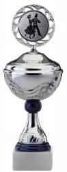 SALE: Pokale 6er Serie S465 silber/blau mit Deckel 25 cm
