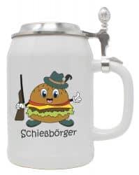 """Bierkrug 0,5 l """"Schießbörger"""" mit Zinndeckel"""