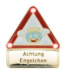 Achtung Engelchen - Pin mit Blinkis