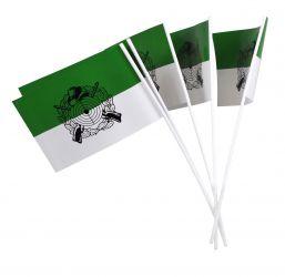 Papierfähnchen grün-weiß mit Schützenmotiv - schwarz (50 Stück)