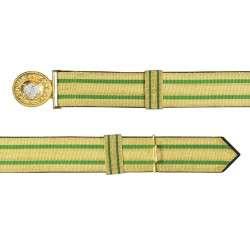 Feldbinde gold mit grünen Streifen (grün National) 100-120cm | mit Schützenemblem