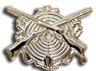 Schützenabzeichen in silber mit langer Nadel versilbert | lange Nadel