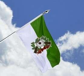 Schützenfahne mit Schützenlogo - Haushängefahne grün-weiß