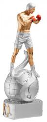 Trophäe Boxer auf Weltkugel FS72503 silber