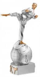 Trophäe Karateka auf Weltkugel FS72503 silber