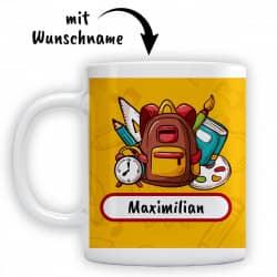 Tasse für den Schulanfang mit ihrem Wunschnamen