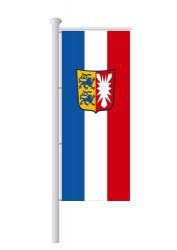 Schleswig-Holstein-Fahne-Ausleger Hochformat mit Wappen