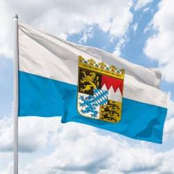 Bayern-Flagge mit Wappen (Streifen)